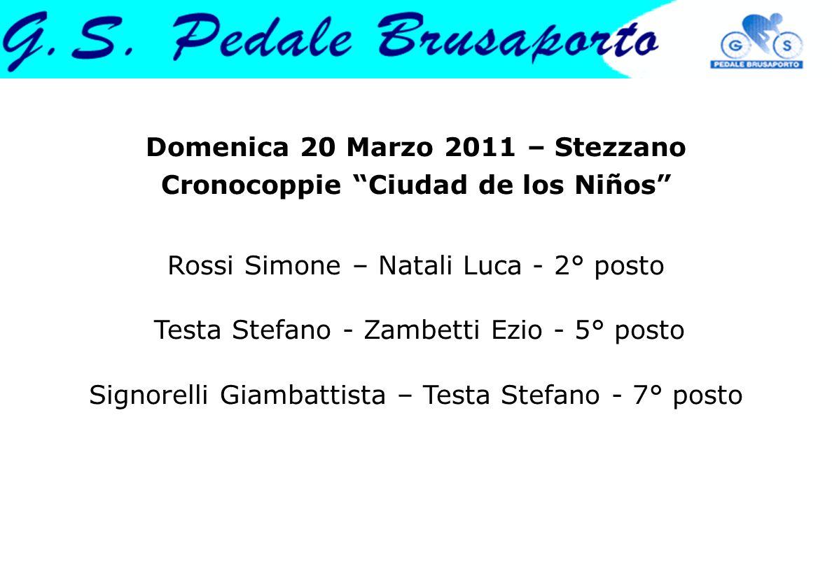 Domenica 20 Marzo 2011 – Stezzano Cronocoppie Ciudad de los Niños Rossi Simone – Natali Luca - 2° posto Testa Stefano - Zambetti Ezio - 5° posto Signo