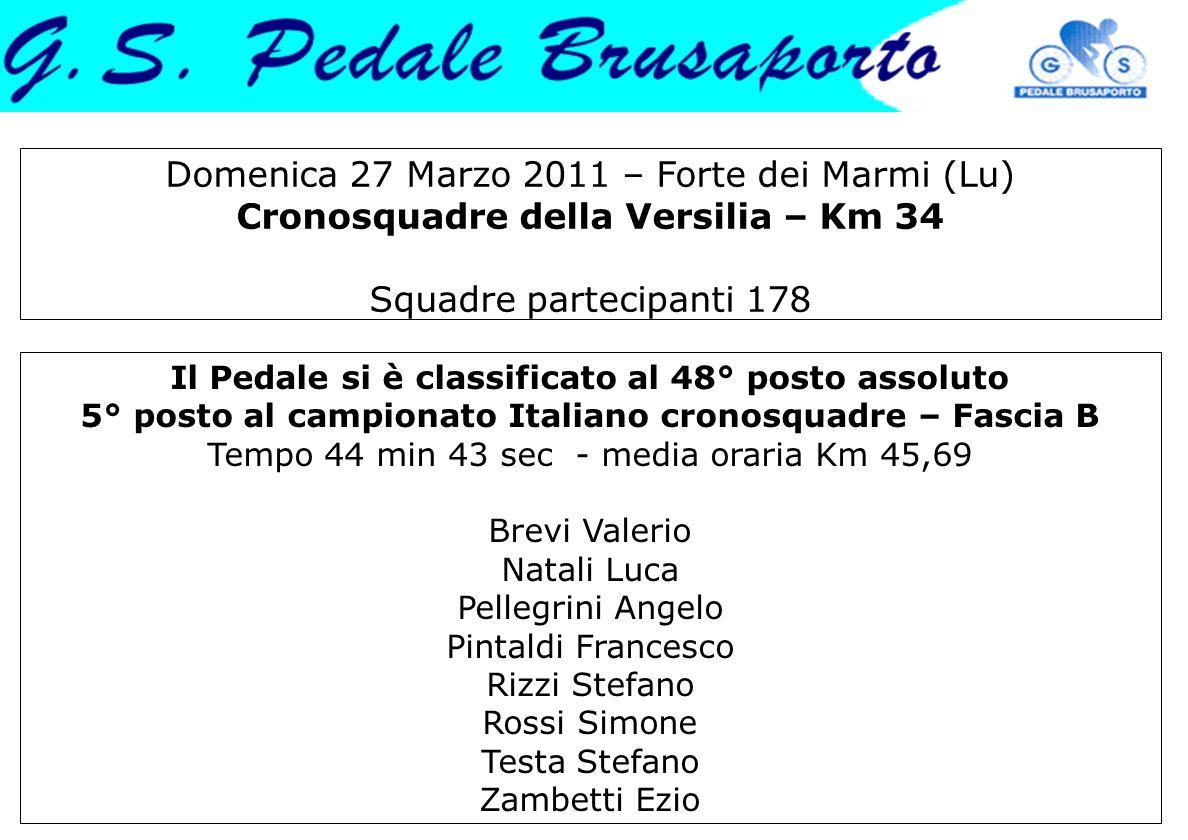 Domenica 27 Marzo 2011 – Forte dei Marmi (Lu) Cronosquadre della Versilia – Km 34 Squadre partecipanti 178 Il Pedale si è classificato al 48° posto as