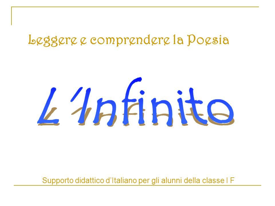 Leggere e comprendere la Poesia Supporto didattico dItaliano per gli alunni della classe I F
