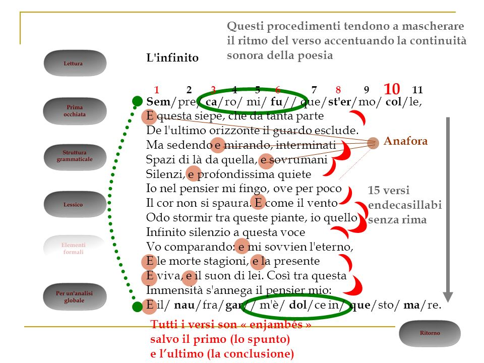 Anafora 12457911368 10 15 versi endecasillabi senza rima Tutti i versi son « enjambés » salvo il primo (lo spunto) e lultimo (la conclusione) Questi p