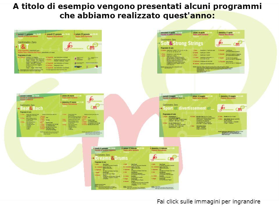 Fai click sulle immagini per ingrandire A titolo di esempio vengono presentati alcuni programmi che abbiamo realizzato quest anno: