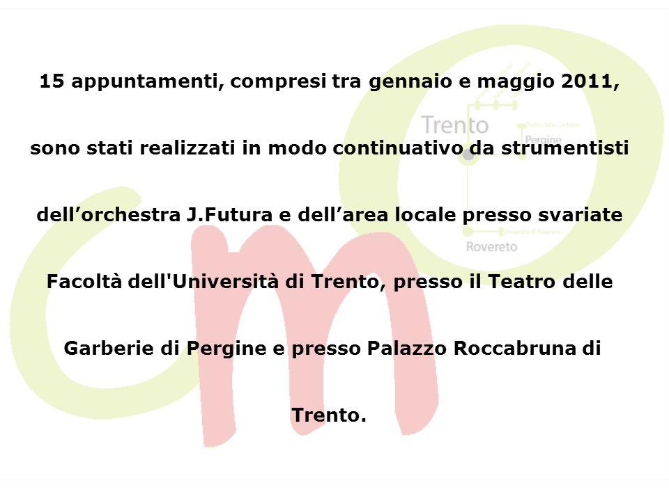 Progetti futuri Intendiamo creare una rete italiana ed europea di concerti di musica da camera, anche basata su scambi e coproduzioni, che nel 2012 si svilupperà essenzialmente tra Italia, Spagna e Portogallo.