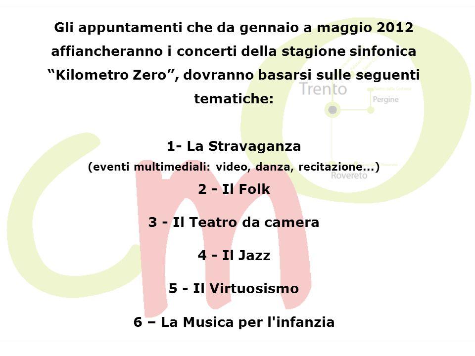 Intendiamo realizzare cinque appuntamenti mensili, ognuno dei quali composto da una serie di tre concerti consecutivi, collegati alle tematiche suggerite, in un periodo compreso tra gennaio e maggio 2012.