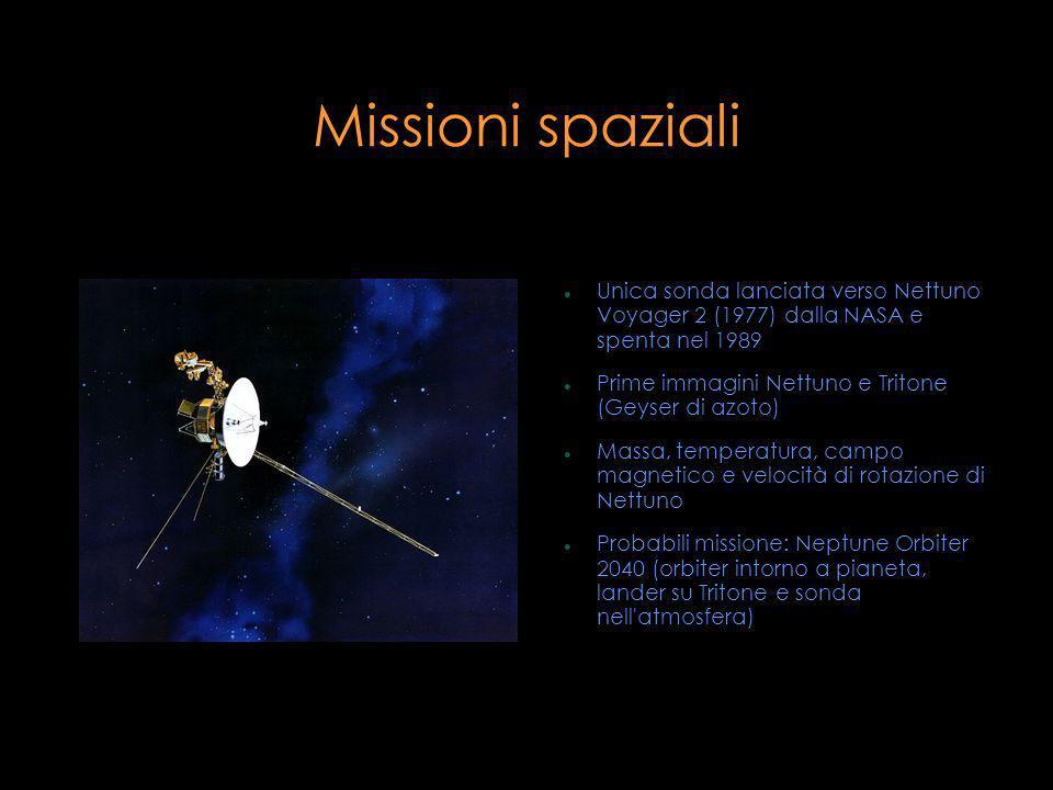 Missioni spaziali Unica sonda lanciata verso Nettuno Voyager 2 (1977) dalla NASA e spenta nel 1989 Prime immagini Nettuno e Tritone (Geyser di azoto)