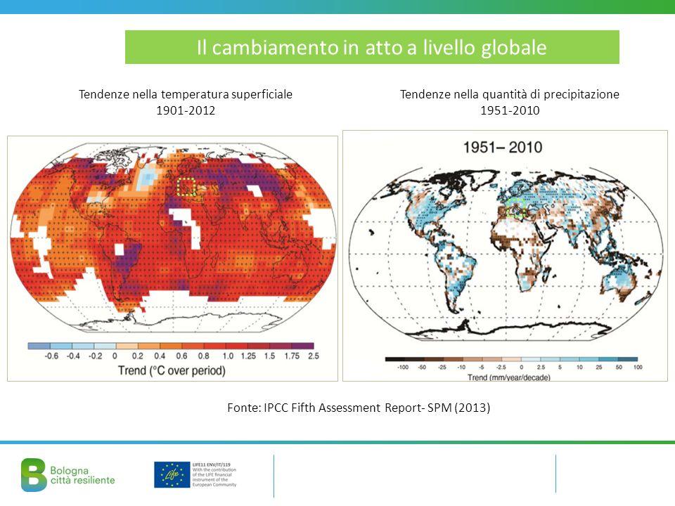 Il cambiamento in atto a livello globale Tendenze nella temperatura superficiale 1901-2012 Fonte: IPCC Fifth Assessment Report- SPM (2013) Tendenze nella quantità di precipitazione 1951-2010