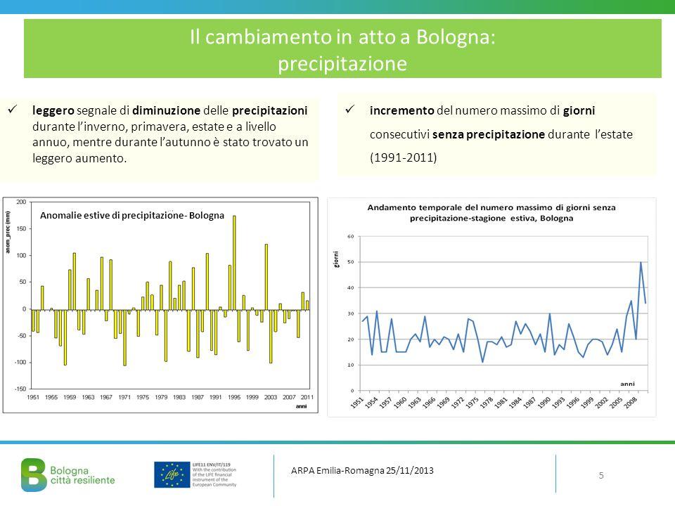 LCPo Bologna Trend positivo di temperatura in tutte le stagioni, più forte in estate, con presenza di cambiamenti negli estremi; Punto di cambiamento nelle temperature attorno al 1990; Tendenza di aumento del numero di giorni secchi e delle piogge intense.
