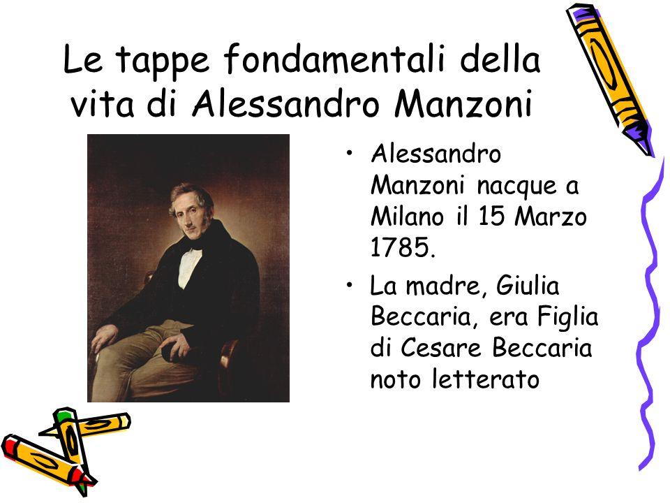 Le tappe fondamentali della vita di Alessandro Manzoni Nel 1823 morì la moglie Enrichetta.