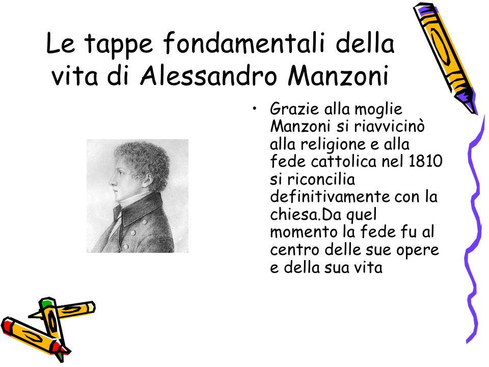 Le tappe fondamentali della vita di Alessandro Manzoni Nel 1821 ha inizio per il Manzoni il ventennio più importante per la sua vita di scrittore.