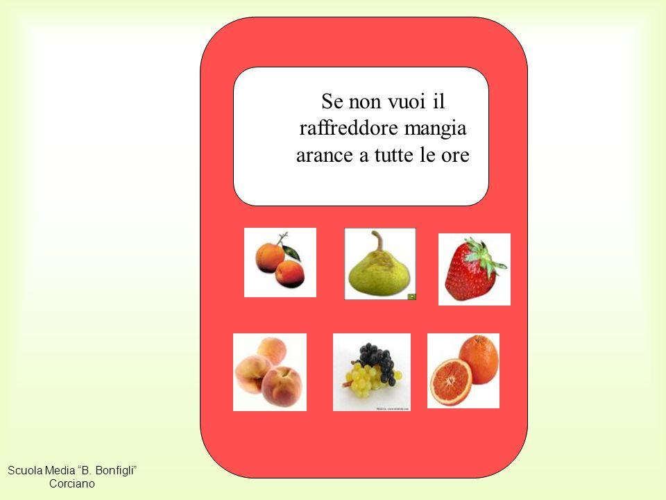 SMS arancia Se non vuoi il raffreddore mangia arance a tutte le ore Scuola Media B.