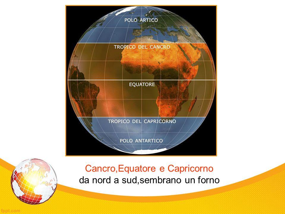 Cancro,Equatore e Capricorno da nord a sud,sembrano un forno