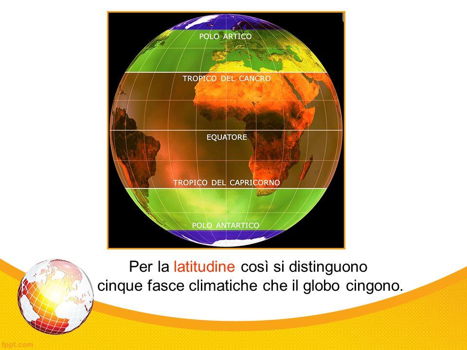 Per la latitudine così si distinguono cinque fasce climatiche che il globo cingono.
