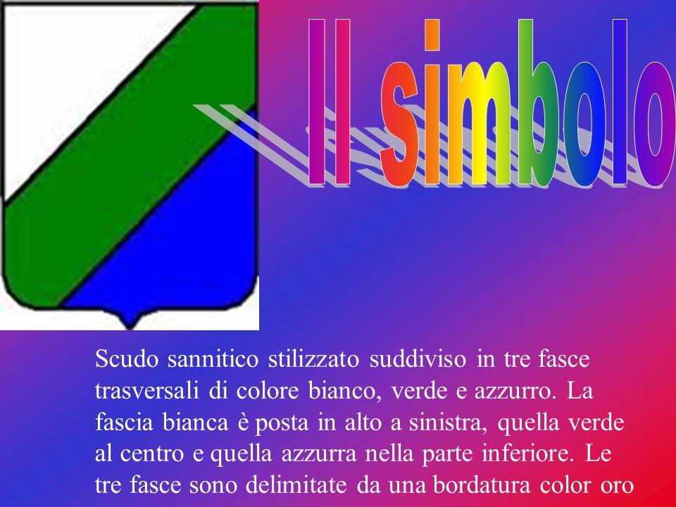 Scudo sannitico stilizzato suddiviso in tre fasce trasversali di colore bianco, verde e azzurro. La fascia bianca è posta in alto a sinistra, quella v