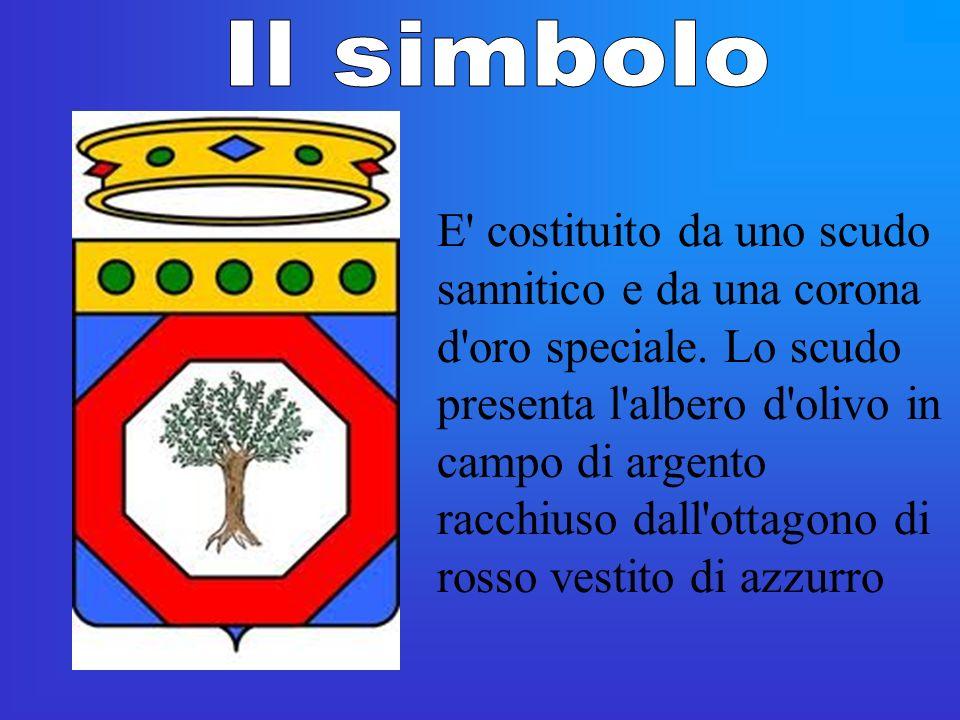 E' costituito da uno scudo sannitico e da una corona d'oro speciale. Lo scudo presenta l'albero d'olivo in campo di argento racchiuso dall'ottagono di