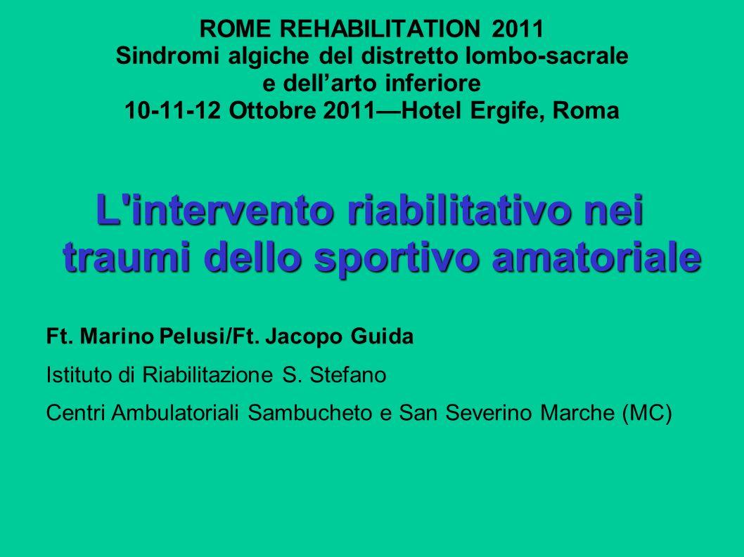ROME REHABILITATION 2011 Sindromi algiche del distretto lombo-sacrale e dellarto inferiore 10-11-12 Ottobre 2011Hotel Ergife, Roma L'intervento riabil