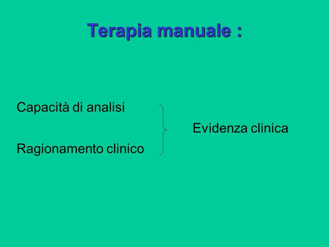 Terapia manuale : Capacità di analisi Evidenza clinica Ragionamento clinico