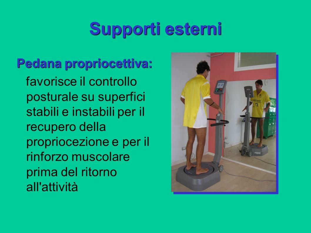 Supporti esterni Pedana propriocettiva: favorisce il controllo posturale su superfici stabili e instabili per il recupero della propriocezione e per i