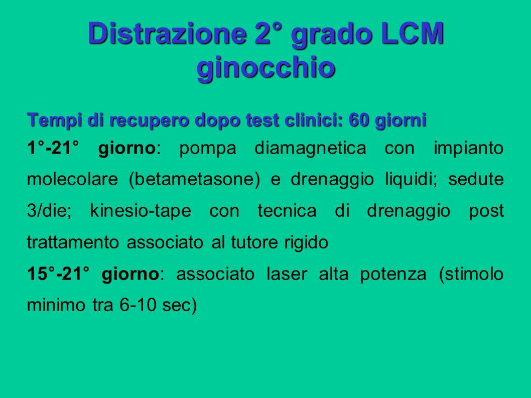 Distrazione 2° grado LCM ginocchio Tempi di recupero dopo test clinici: 60 giorni 1°-21° giorno: pompa diamagnetica con impianto molecolare (betametas