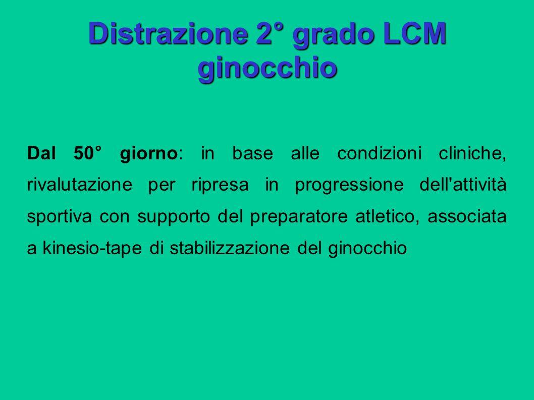 Distrazione 2° grado LCM ginocchio Dal 50° giorno: in base alle condizioni cliniche, rivalutazione per ripresa in progressione dell'attività sportiva