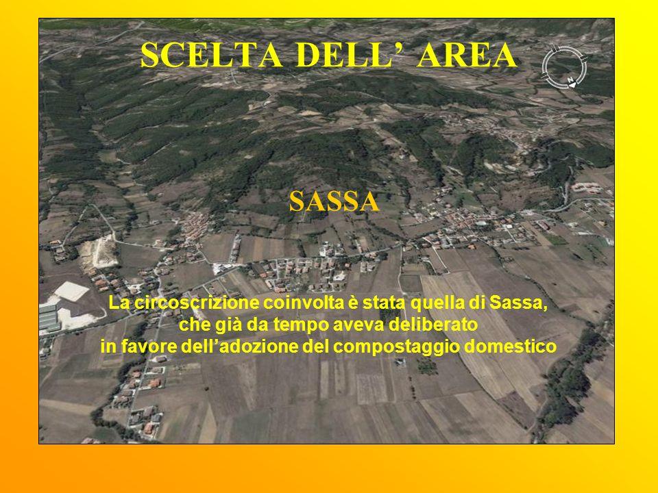 SCELTA DELL AREA SASSA La circoscrizione coinvolta è stata quella di Sassa, che già da tempo aveva deliberato in favore delladozione del compostaggio domestico