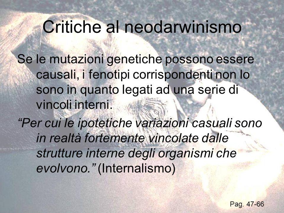 Critiche al neodarwinismo Se le mutazioni genetiche possono essere causali, i fenotipi corrispondenti non lo sono in quanto legati ad una serie di vin