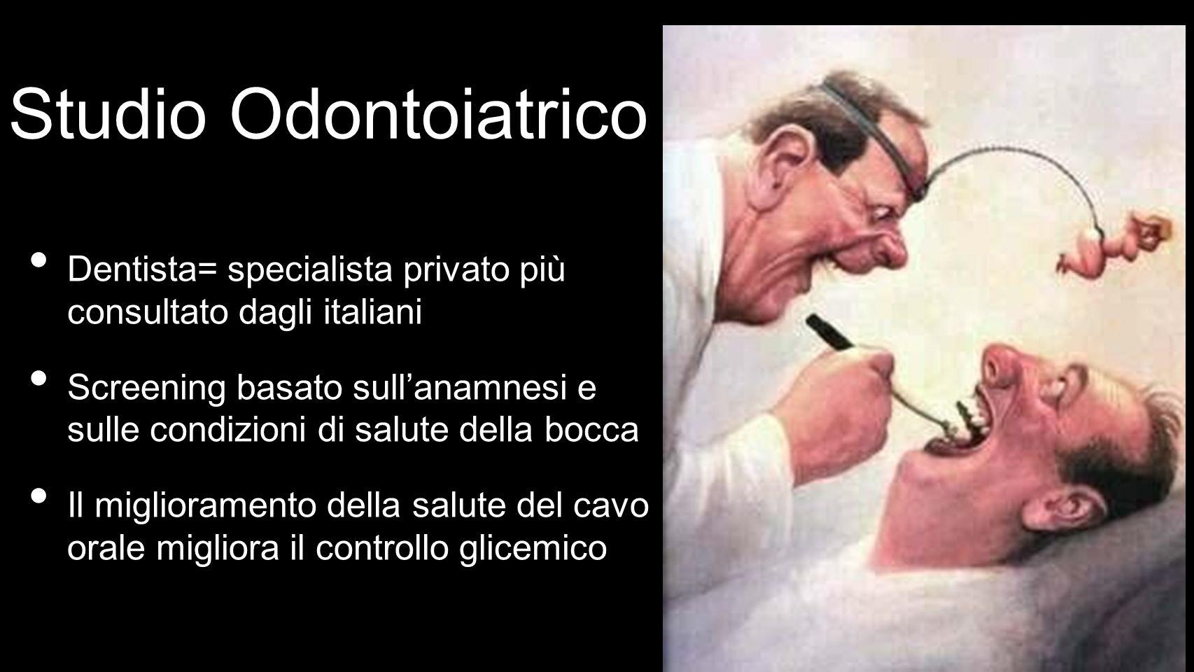 Studio Odontoiatrico Dentista= specialista privato più consultato dagli italiani Screening basato sullanamnesi e sulle condizioni di salute della bocca Il miglioramento della salute del cavo orale migliora il controllo glicemico
