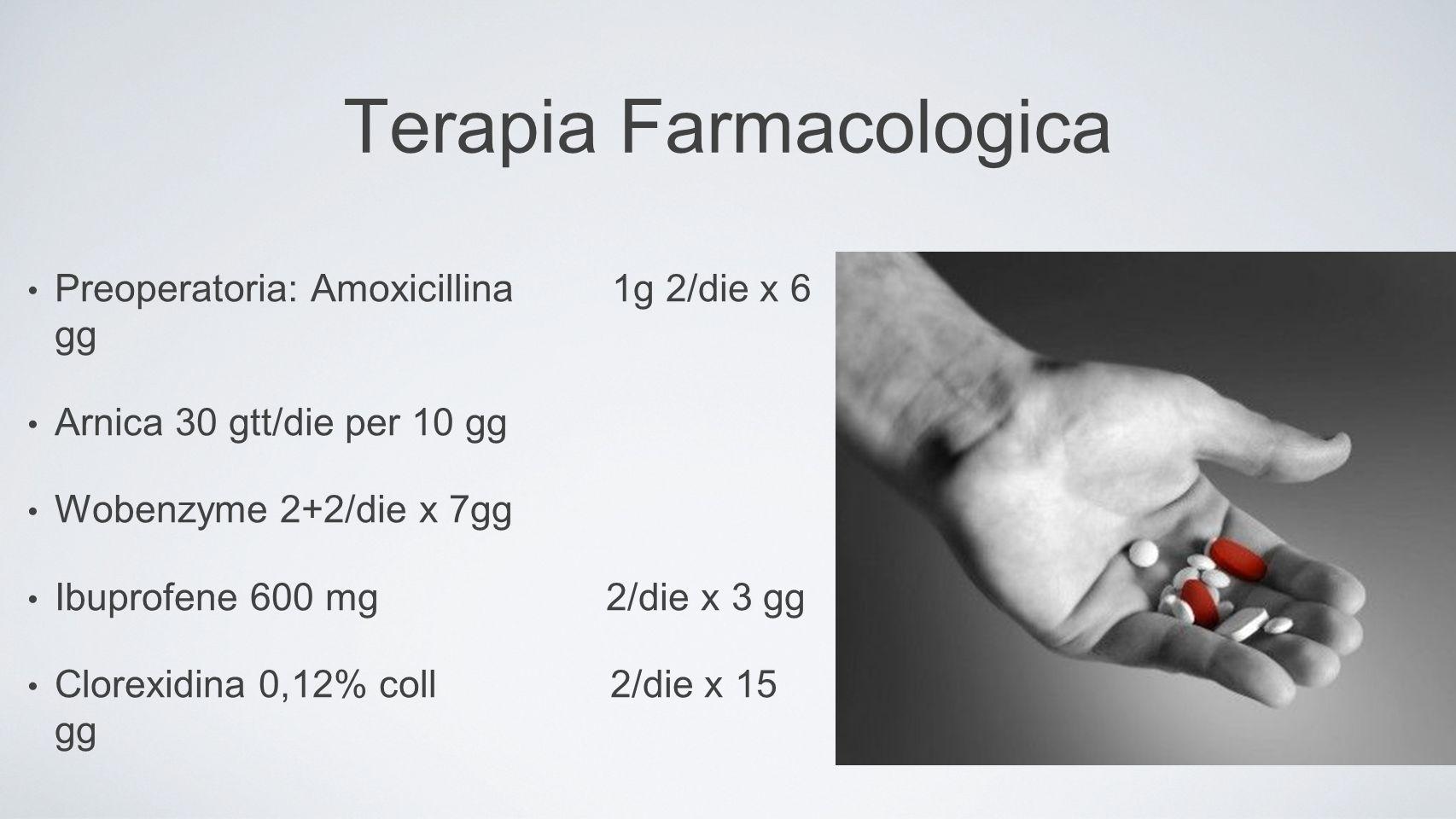 Terapia Farmacologica Preoperatoria: Amoxicillina 1g 2/die x 6 gg Arnica 30 gtt/die per 10 gg Wobenzyme 2+2/die x 7gg Ibuprofene 600 mg 2/die x 3 gg Clorexidina 0,12% coll 2/die x 15 gg