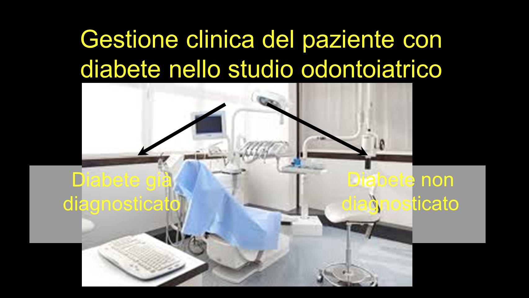 Diabete già diagnosticato Diabete non diagnosticato Gestione clinica del paziente con diabete nello studio odontoiatrico