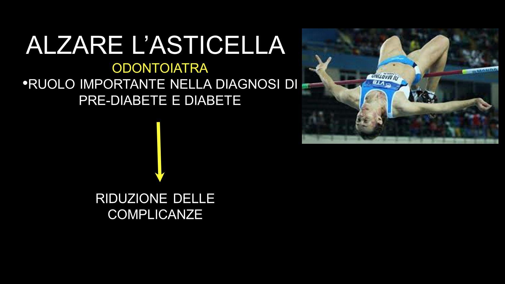 ALZARE LASTICELLA ODONTOIATRA RUOLO IMPORTANTE NELLA DIAGNOSI DI PRE-DIABETE E DIABETE RIDUZIONE DELLE COMPLICANZE
