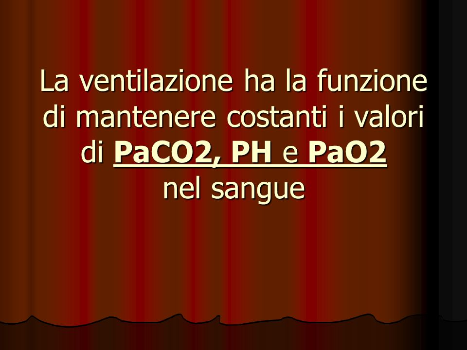 La ventilazione ha la funzione di mantenere costanti i valori di PaCO2, PH e PaO2 nel sangue