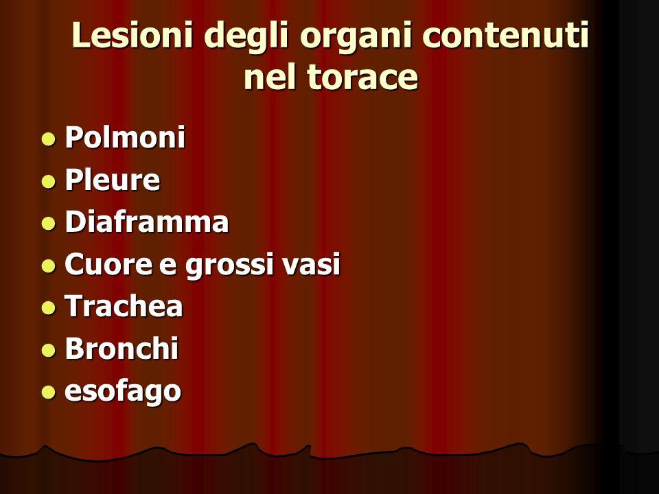 Lesioni degli organi contenuti nel torace Polmoni Polmoni Pleure Pleure Diaframma Diaframma Cuore e grossi vasi Cuore e grossi vasi Trachea Trachea Bronchi Bronchi esofago esofago