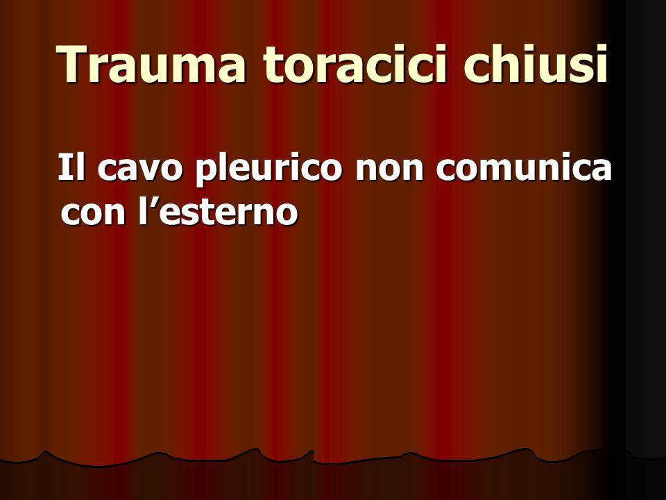 Trauma toracici chiusi Il cavo pleurico non comunica con lesterno Il cavo pleurico non comunica con lesterno