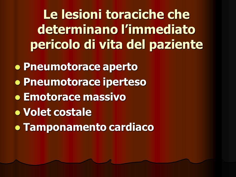 Le lesioni toraciche che determinano limmediato pericolo di vita del paziente Pneumotorace aperto Pneumotorace aperto Pneumotorace iperteso Pneumotorace iperteso Emotorace massivo Emotorace massivo Volet costale Volet costale Tamponamento cardiaco Tamponamento cardiaco