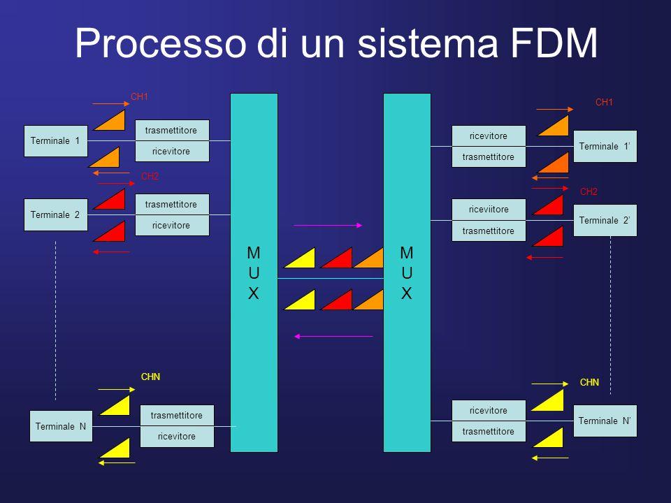 Processo di un sistema FDM Terminale 1 Terminale 2 Terminale N Terminale 1 Terminale 2 Terminale N trasmettitore ricevitore trasmettitore ricevitore t
