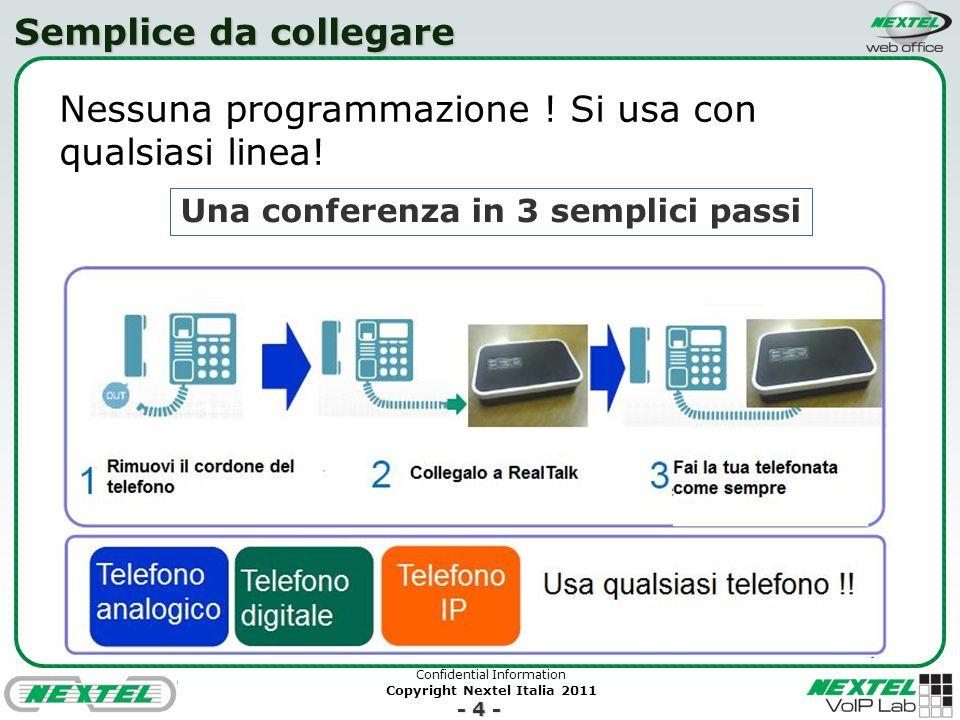 Confidential Information Copyright Nextel Italia 2011 - 5 - Audioconferenza wireless Grazie a Bluetooth si possono usare smartphone in mobilità e qualsiasi spazio interno o esterno Batterie ricaricabili assicurano oltre 5 ore di uso in qualsiasi luogo