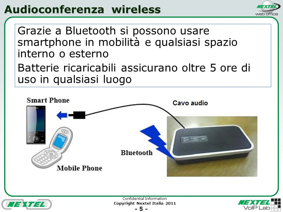 Confidential Information Copyright Nextel Italia 2011 - 5 - Audioconferenza wireless Grazie a Bluetooth si possono usare smartphone in mobilità e qual