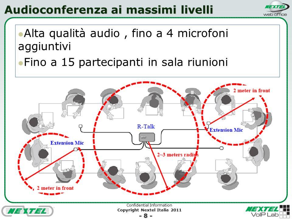 Confidential Information Copyright Nextel Italia 2011 - 8 - Audioconferenza ai massimi livelli Alta qualità audio, fino a 4 microfoni aggiuntivi Fino a 15 partecipanti in sala riunioni