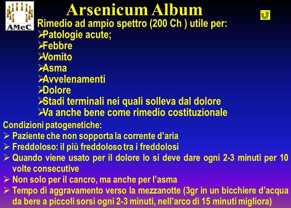 Rimedio ad ampio spettro (200 Ch ) utile per: Patologie acute; Febbre Vomito Asma Avvelenamenti Dolore Stadi terminali nei quali solleva dal dolore Va
