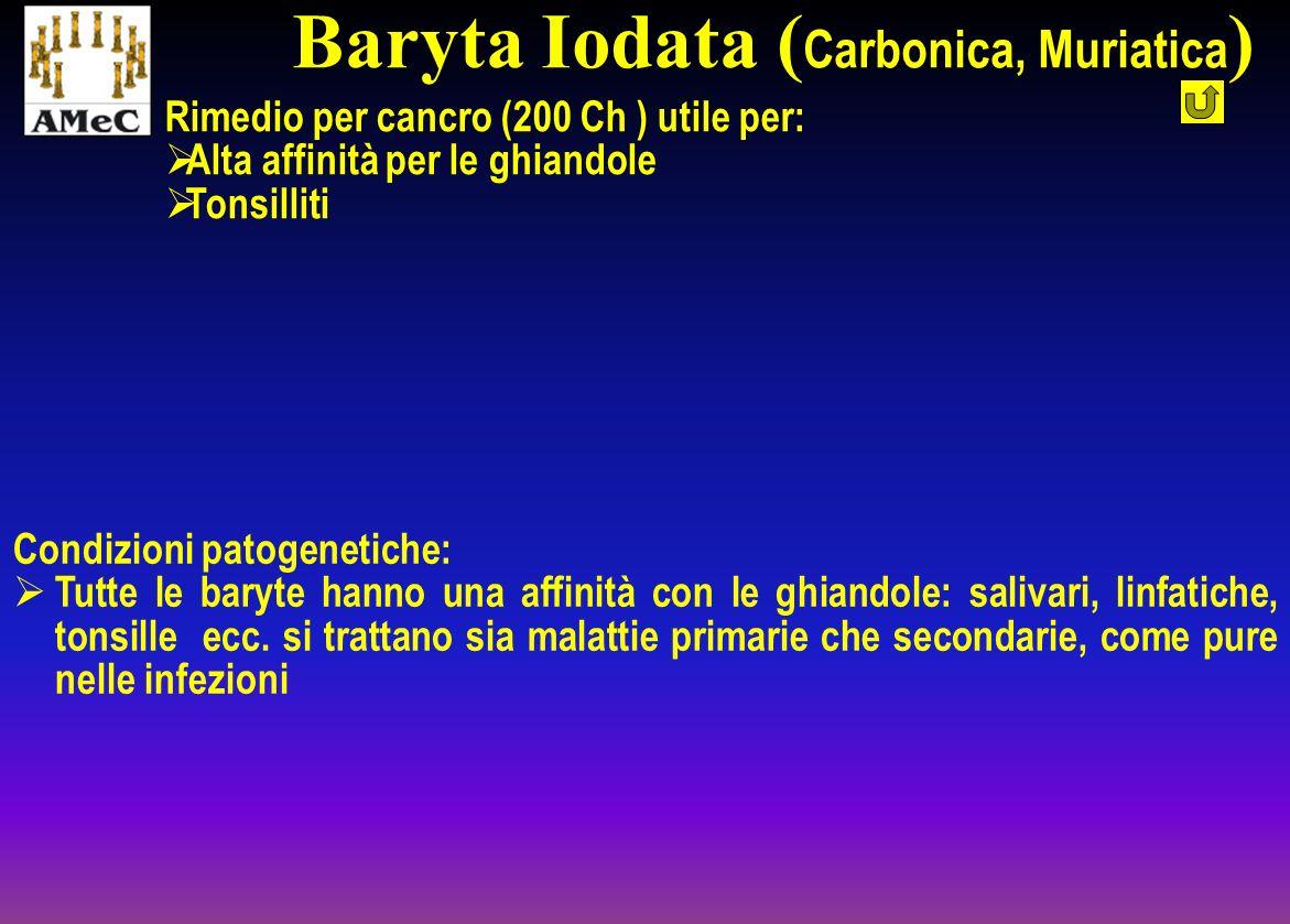Rimedio per cancro (200 Ch ) utile per: Alta affinità per le ghiandole Tonsilliti Condizioni patogenetiche: Tutte le baryte hanno una affinità con le