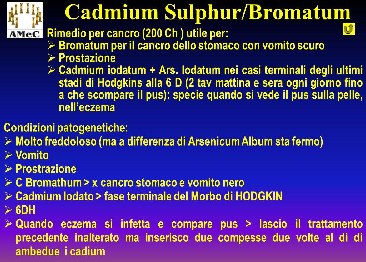 Rimedio per cancro (200 Ch ) utile per: Bromatum per il cancro dello stomaco con vomito scuro Prostazione Cadmium iodatum + Ars. Iodatum nei casi term