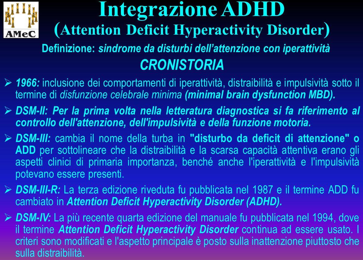 Definizione: sindrome da disturbi dellattenzione con iperattività CRONISTORIA 1966: inclusione dei comportamenti di iperattività, distraibilità e impu