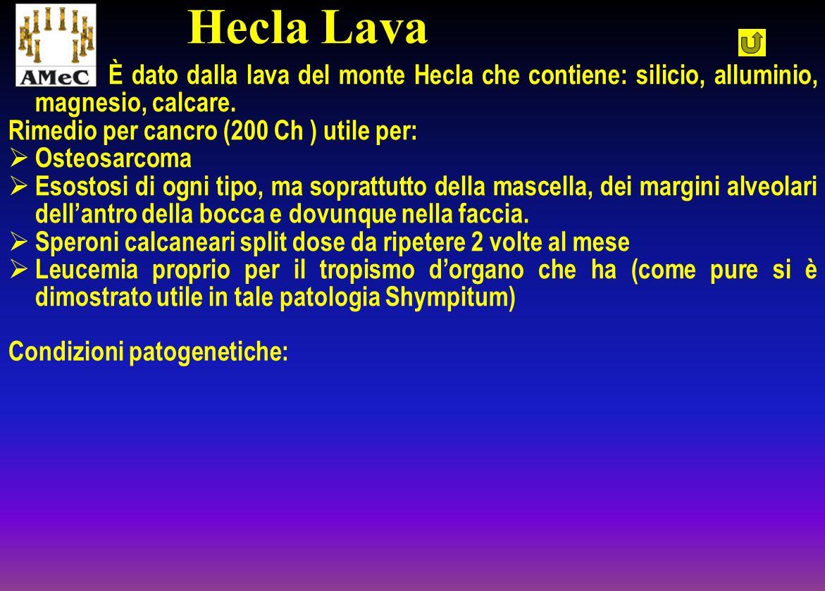 È dato dalla lava del monte Hecla che contiene: silicio, alluminio, magnesio, calcare. Rimedio per cancro (200 Ch ) utile per: Osteosarcoma Esostosi d