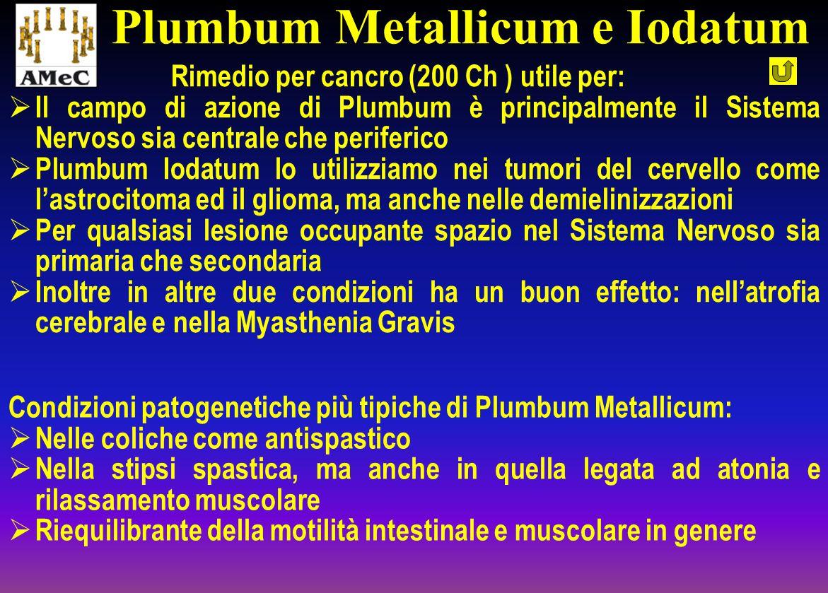 Rimedio per cancro (200 Ch ) utile per: Il campo di azione di Plumbum è principalmente il Sistema Nervoso sia centrale che periferico Plumbum Iodatum