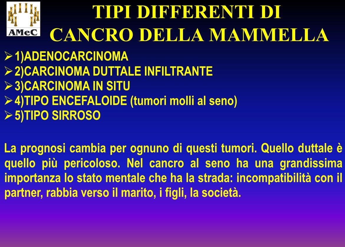 1)ADENOCARCINOMA 2)CARCINOMA DUTTALE INFILTRANTE 3)CARCINOMA IN SITU 4)TIPO ENCEFALOIDE (tumori molli al seno) 5)TIPO SIRROSO TIPI DIFFERENTI DI CANCR