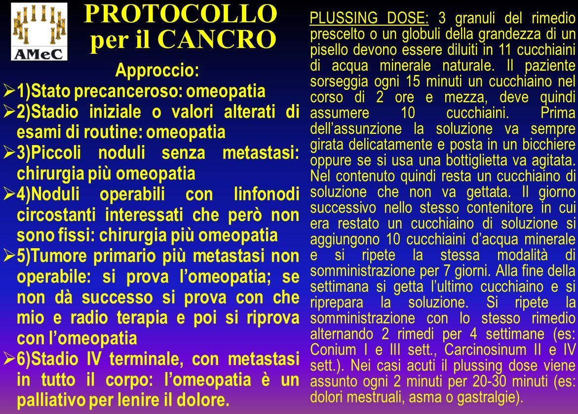 Approccio: 1)Stato precanceroso: omeopatia 2)Stadio iniziale o valori alterati di esami di routine: omeopatia 3)Piccoli noduli senza metastasi: chirur