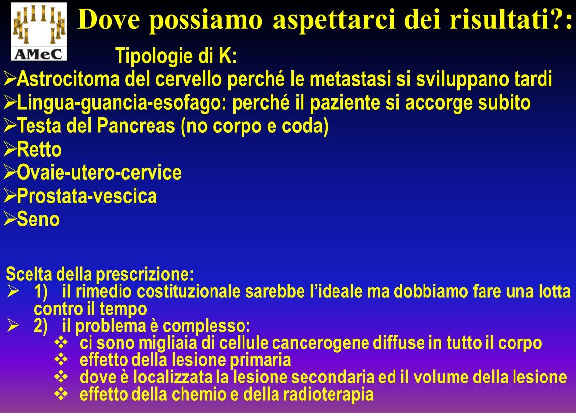 Tipologie di K: Astrocitoma del cervello perché le metastasi si sviluppano tardi Lingua-guancia-esofago: perché il paziente si accorge subito Testa de