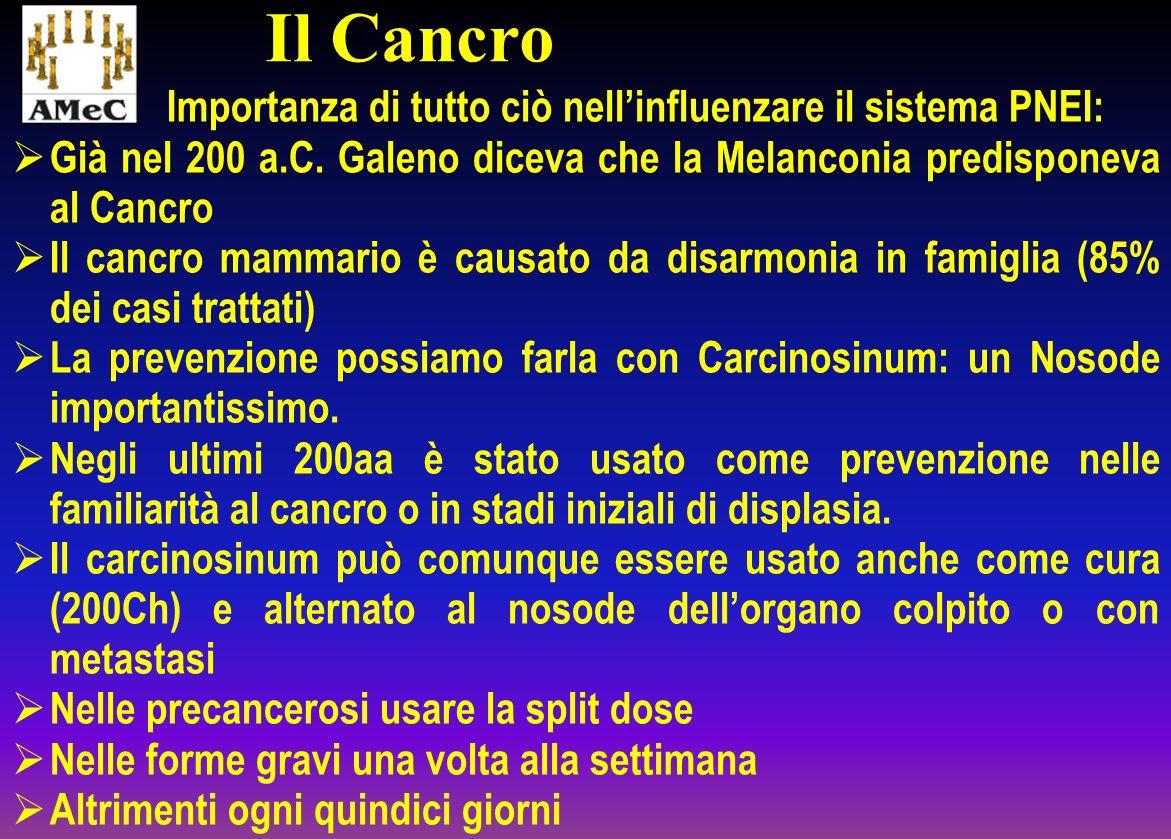 Importanza di tutto ciò nellinfluenzare il sistema PNEI: Già nel 200 a.C. Galeno diceva che la Melanconia predisponeva al Cancro Il cancro mammario è