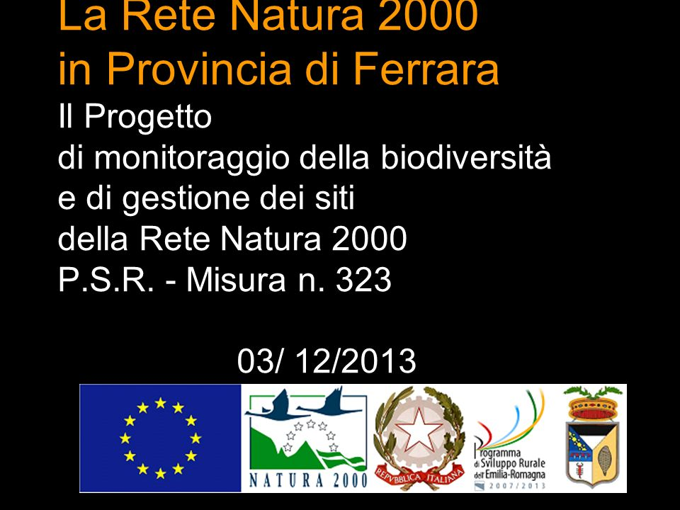 La Rete Natura 2000 in Provincia di Ferrara Il Progetto di monitoraggio della biodiversità e di gestione dei siti della Rete Natura 2000 P.S.R. - Misu