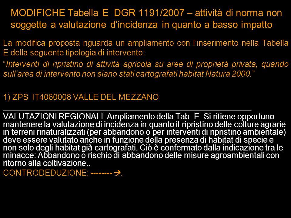 La modifica proposta riguarda un ampliamento con linserimento nella Tabella E della seguente tipologia di intervento: Interventi di ripristino di atti