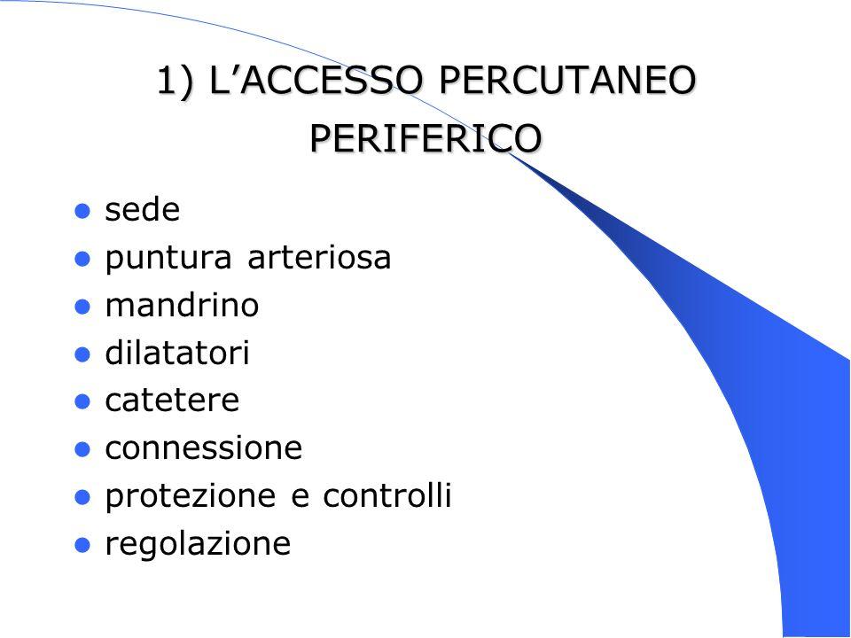 1) LACCESSO PERCUTANEO PERIFERICO sede puntura arteriosa mandrino dilatatori catetere connessione protezione e controlli regolazione
