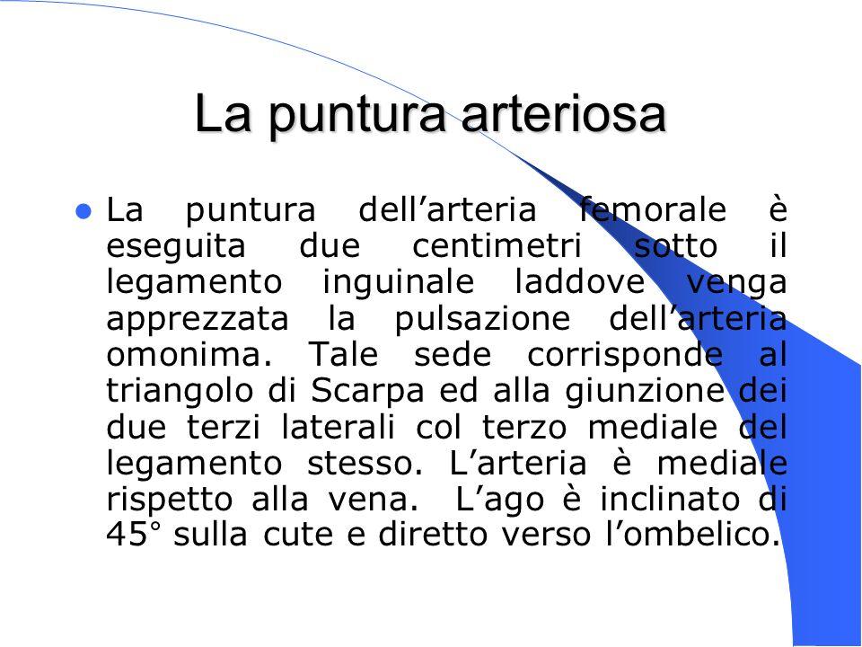 Genova 15 Nov 2003 La puntura arteriosa La puntura dellarteria femorale è eseguita due centimetri sotto il legamento inguinale laddove venga apprezzat